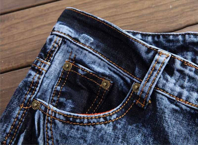 Newsosoo 2018 Hi-street Men\'s Denim Jeans Motorcycle Slim Fit Casual Washed Jeans Pants Male Fashion Trousers (8)