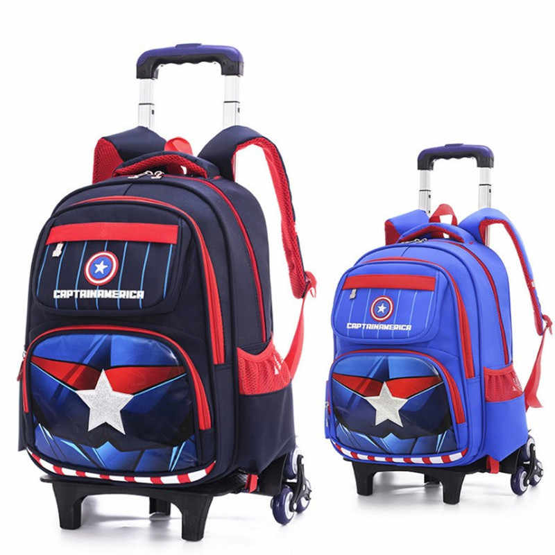 6a46a01597 HOT Climb the stairs travel luggage On wheels students school bag suitcase  Captain America backpack cartoon