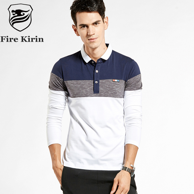 Fire Kirin 2017 New Arrival Autumn Long Sleeve Polo Shirts Men Slim Fit Cotton Polo Shirts Brand Patchwork Mens Casual Polos T20