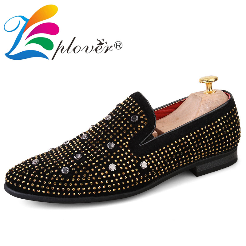 Brand Men Shoes Comfortable Loafers Men Velvet Shoes Casual 2018 New Party Rhinestone Breathable Men Flats