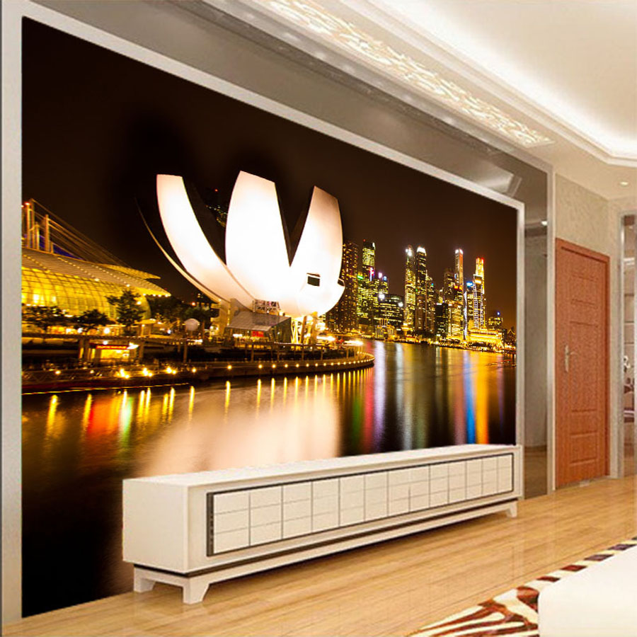 Customize Night City Building Landmark Wallpaper for Wall 3d Household Background Wall Paper Living Room Non-woven Mural Rolls