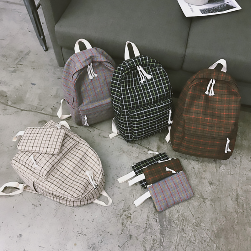 HTB1PtIVa8Gw3KVjSZFwq6zQ2FXal 2 Pieces Japan style Plaid Style Women Backpack Pencil Case Student Girl School Bag Travel Shoulder Bag For Women 2019 Bagpack