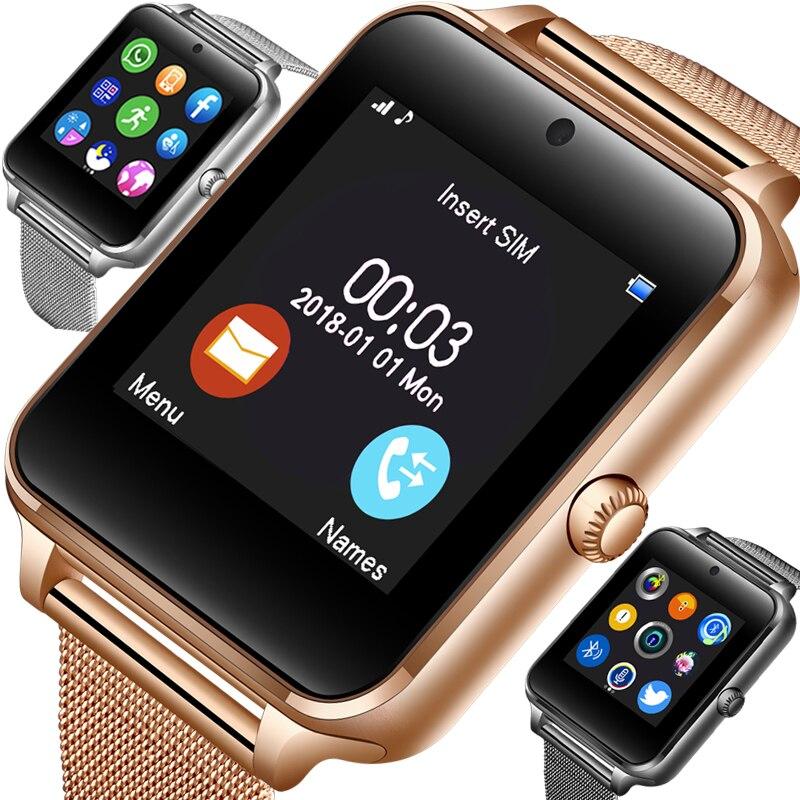 2019 Nova Bluetooth Inteligente telefone do Relógio Dos Homens Do Esporte Pedômetro Moda Aço Inoxidável Relógio Inteligente SIM Suporte TF Cartão Da Câmera Android