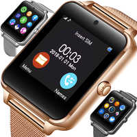 2019 neue Bluetooth smartphone Uhr Männer Sport Schrittzähler Mode Edelstahl Smart Uhr Unterstützung SIM TF Karte Kamera Android