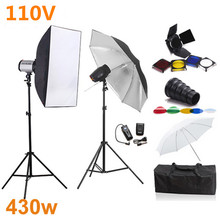 Godox 430ws 110v Photography Softbox Flash Lighting Kits Mini Flash Monolight Lightbox Stand Set Photo Studio Accessories