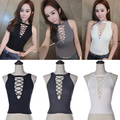 2016 New Sexy Cross Strappy Hollow Knitted Tank Top Vest Sexy O-Neck Sleeveless Fitness Women Short Crop Tops
