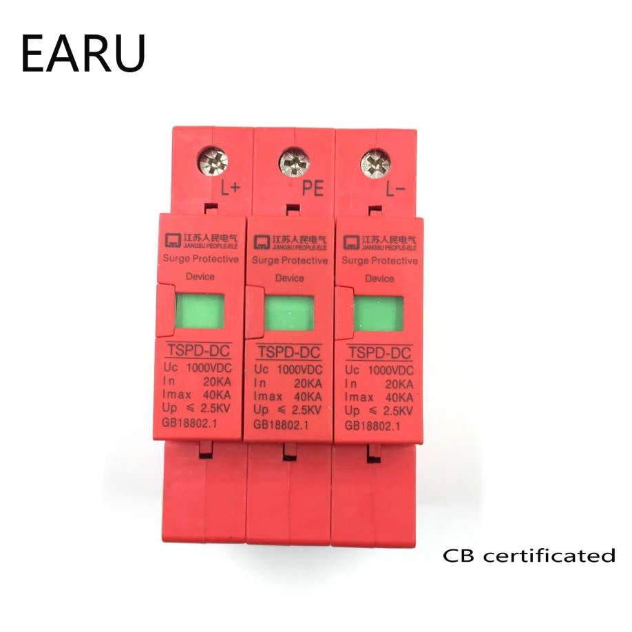 3P SPD DC 1000V 20KA~40KA Over Under Voltage House Surge Protector Low-voltage Arrester Device for PV Solar Energy System
