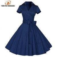 4XL Plus Size 2016 New Summer Style Women Robe Vintage Dresses 50s 60s Polka Dots Cotton
