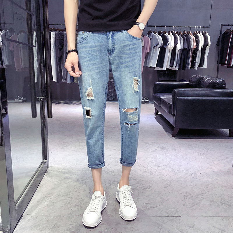 18 Summer Directly Canister Holes Jeans Male Nine Part Pants The new listing Favourite Fashion Free shipping blue casual