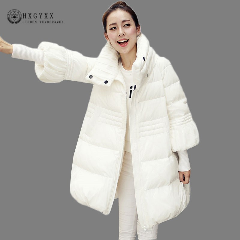 White   Parka   Female Winter Coats Long Cotton Padded Quilted Jacket Women Stand Collar A-line Thick Warm Outwear 2018 Okd486