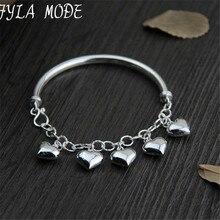 Fyla Mode 925 Sterling Silver Bracelet for Women with 5 Pieces Genuine 925 Silver Heart Charm Bracelets Party Jewelry WT007
