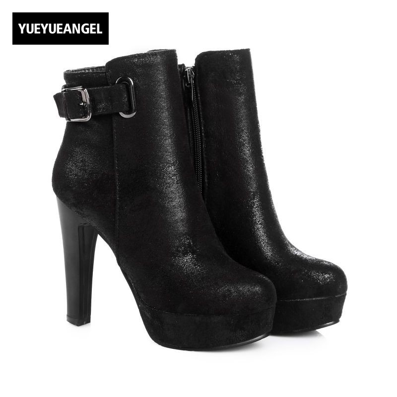 2017 New Arrival Bling Faux Suede Womens Ankle Boots Buckle Sexy Night Club High Heel Shoes Fashion Comfort Platform Footwear 5 3 4 inch sexy high heel womens shoes faux wood grain platform clearance
