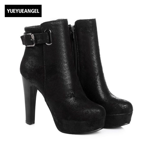 bf7ba5c2d89f 2018 New Arrival Bling Faux Suede Womens Ankle Boots Buckle Sexy Night Club High  Heel Shoes Fashion Comfort Platform Footwear