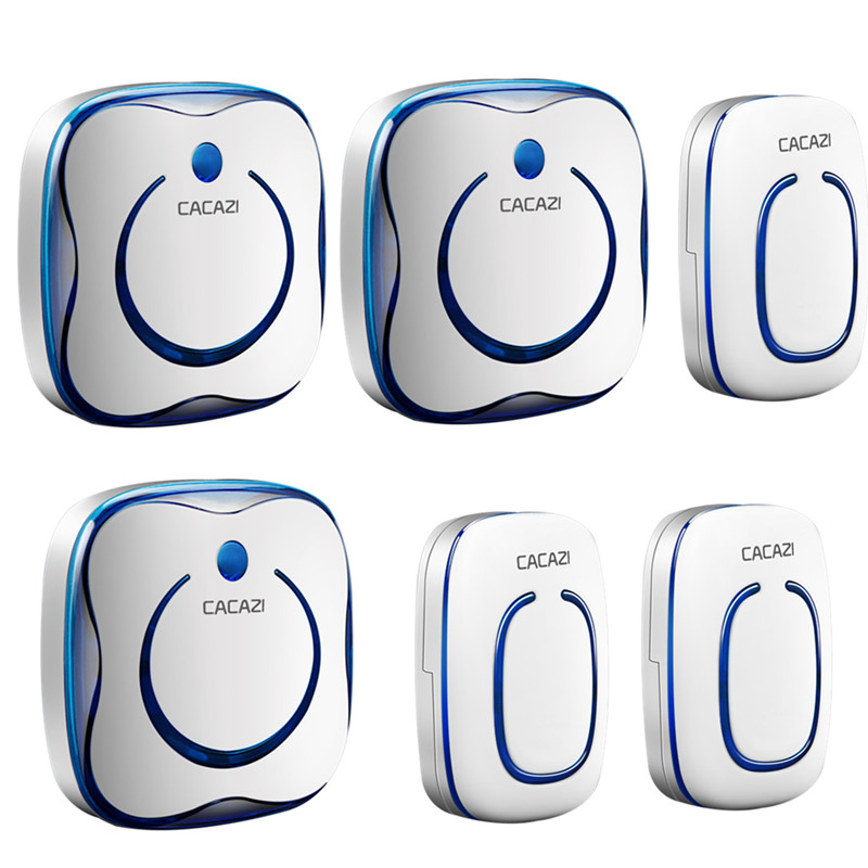CACAZI 9809 AC 110-220V wireless Doorbell 3 transmitters+3 receivers 280M remote digital 315MHZ tamper-proof 36 rings door chime рюкзак picard 9809 113 023 ozean
