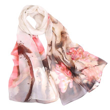 Elegant Scarves Shawl New-Design Women Summer Soft-Wrap Floral-Print Long Ladies Lotus