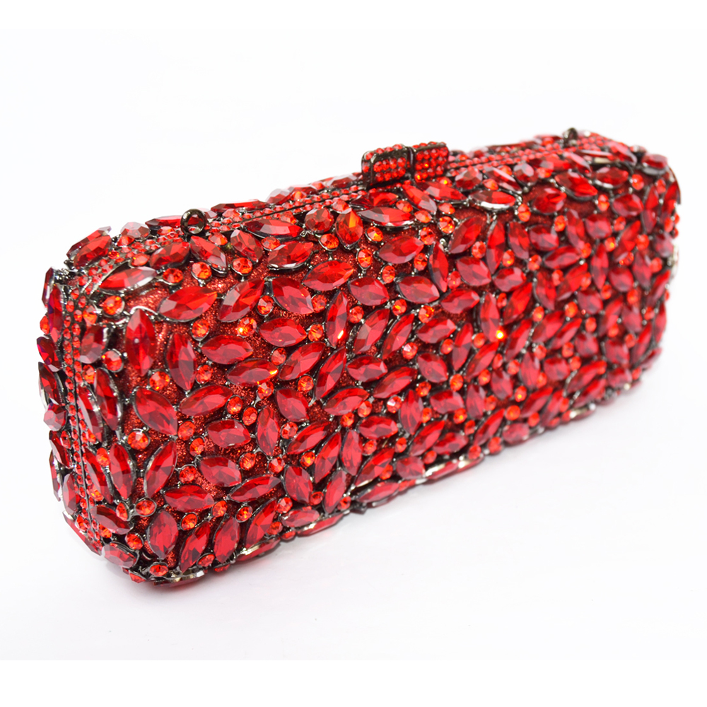 Gold Red long clutch chain bag Women Luxury Crystal Party Purse Rhinestones  Bling Clutch purse sparkly lady evening bag SC155-in Top-Handle Bags from  ... 46d65759458a