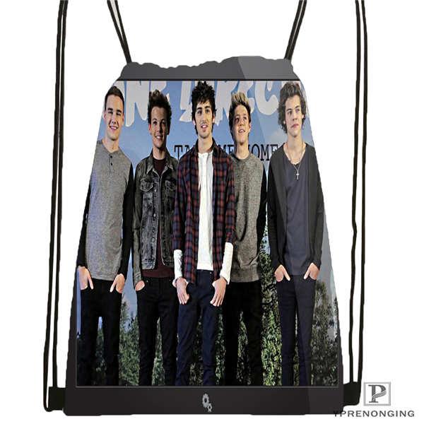 Custom one direction Drawstring Backpack Bag Cute Daypack Kids Satchel Black Back 31x40cm 180611 01 39