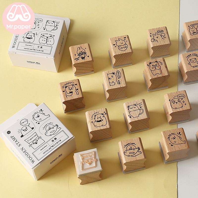 Mr Paper 4pcs/lot Kawaii Cartoon Hamster Rabbit Bear Wooden Rubber Stamps For Scrapbooking Decoration DIY Craft Wooden Stamps