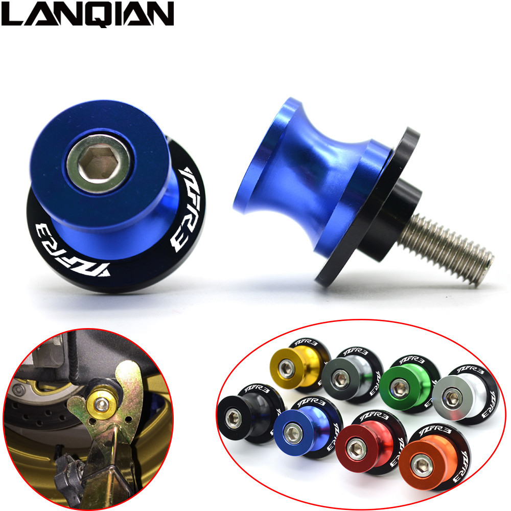 M6 For YAMAHA YZF R3 CNC Aluminum Motorcycle Accessories Swingarm Spools Slider 6mm Swing arm Stand Screws With YZF-R3 LOGO 2pcs universal motorcycle stand screws cnc swingarm swing sliders spools m6 m8 m10 for yamaha r3 honda crf 450 suzuki gn250