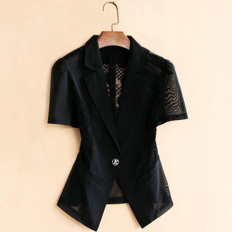 Lace Hollow Summer Blazer Women 2019 Casual Short Sleeve Spliced Slim Thin Korean Suit Shawl Outside Plus Size 5XL Jacket F779