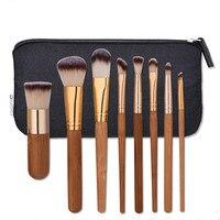 8pcs High Quality Natural Bamboo Professional Makeup Brushes Set Foundation Blending Brush Tool Cosmetic Kits Makeup