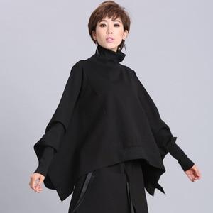 Image 2 - [EAM] coupe ample noir asymétrique surdimensionné sweat nouveau col roulé manches longues femmes grande taille mode marée printemps 2020 OA869