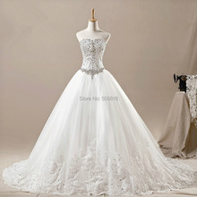 Tulle Jewelry Corset Sweetheart Neckline Cathedral / Royal Train Wedding Gown Custom Made SEM-102