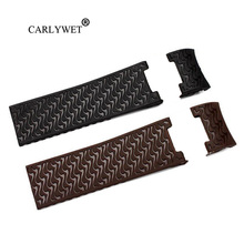 CARLYWET 22mm Wholesale Black Brown Waterproof Silicone Rubber Replacement Wrist Watch Band Strap Belt For Ulysse Nardin carlywet 25 12mm black brown blue waterproof silicone rubber replacement wrist watch band strap belt for ulysse nardin