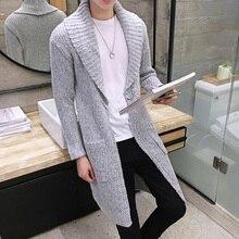 2016 neue winter freizeit mode lange strickjacke kragen pullover schlanke junger mann