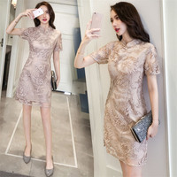 summer Dress Women fashion silk lace flowers noble Elegant Cheongsam slim full dresses for party meeting Hong Kong style