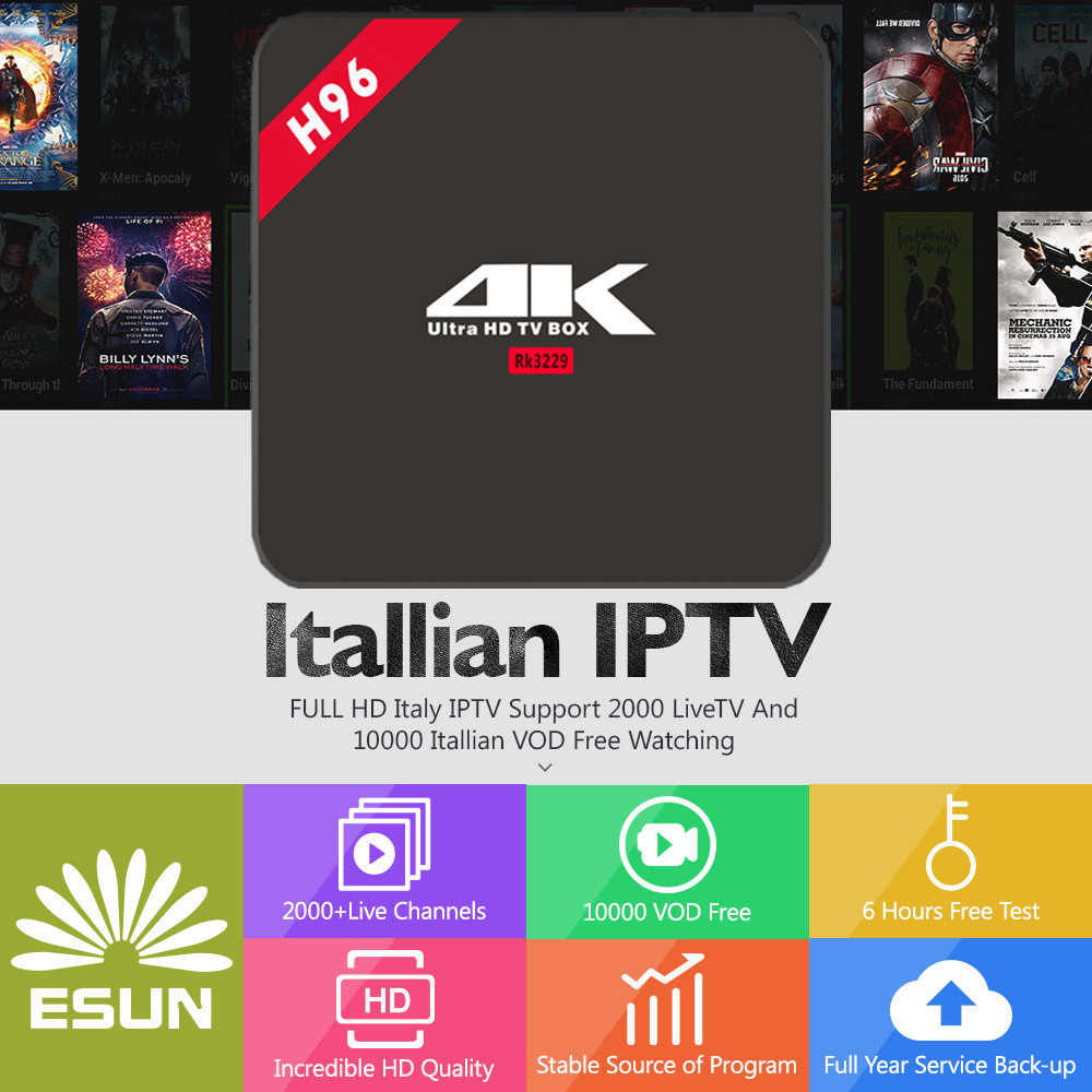 H96 RK3229 android 6.0 With 1 Year Italy IPTV Germany/Europe/Albania/French/UK/Netherland/Sweden/EX-YU/xxx/US IPTV set top box italy iptv a95x pro voice control with 1 year box 2g 16g italy iptv epg 4000 live vod configured europe albania ex yu xxx