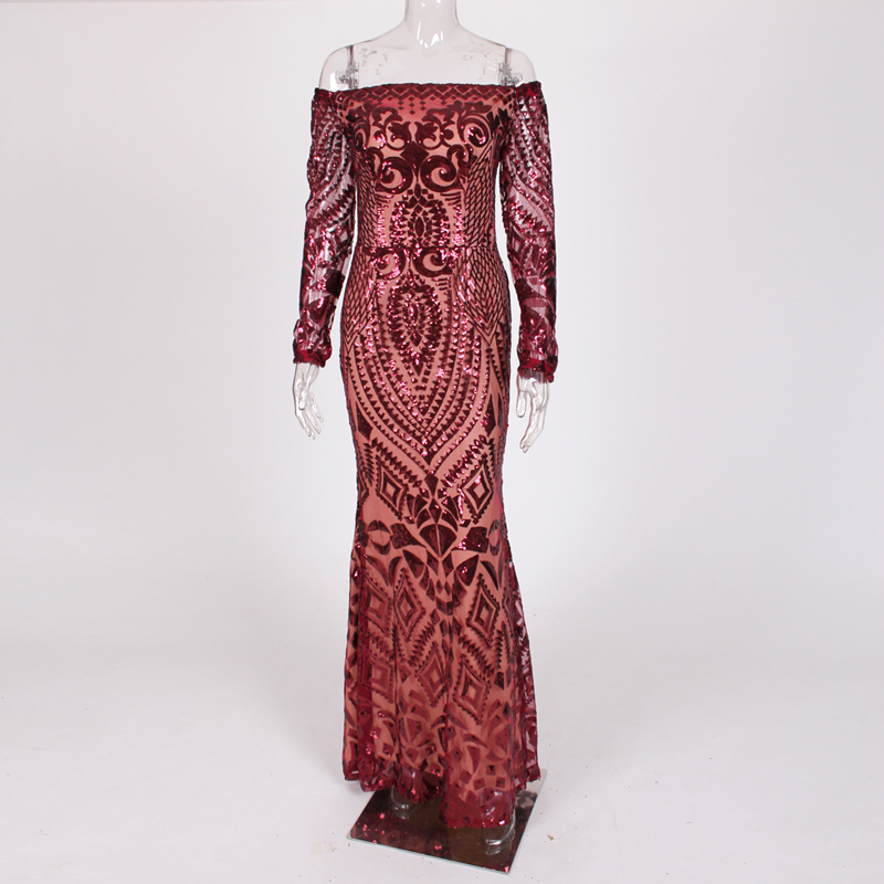 NEW Burgundy Geometric Sequin Party Dress Full Sleeved Off Shoulder Bodycon Maxi Dress Lining Back Zipper Slash Neck Club Dress-in Dresses from Women's Clothing    2