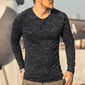 Marca camiseta de manga larga hombres camisa henley sólido culturismo O-cuello para hombre Casual Manga Larga Con Estilo Delgado de algodón superior 2016 nuevo