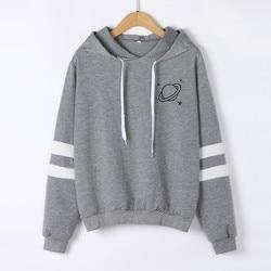 Hoodies Women Sweatshirt Casual Planet Print Striped Long Sleeve Hoody Shirt Blouse Jumper Tops For Female 0912 4