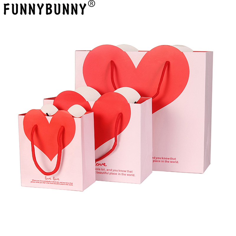 FUNNYBUNNY  Valentine Pink Red Paper Gift Bags/VALENTINE'S DAY Party Supplies/Gift Wrap/Hearts Paper Box