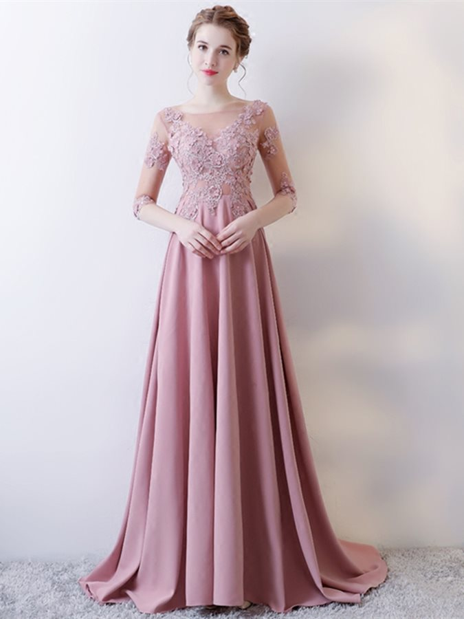 Pink   Prom     Dresses   Long With Sleeves A-Line O-Neck Lace Up Back Sweep Train Lace Appliques Evening Party Gowns Robe De Soiree