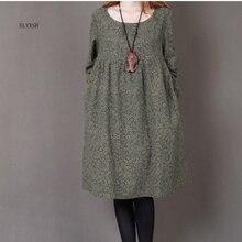 Новинка, Корейская версия, свободное маленькое Цветочное платье с круглым вырезом, длинное платье большого размера, осеннее платье с длинными рукавами