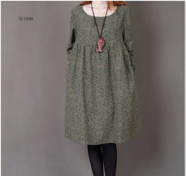 2020 new Korean version of the loose small floral round neck long paragraph large size autumn temperament long-sleeved dress