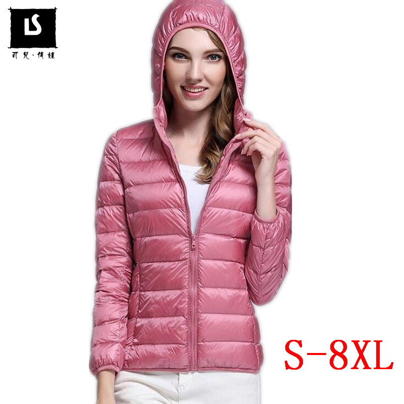 S-8XL Winter Women Light   Down   Jacket 90% White Duck   Down   Filling Hooded Jackets Warm Slim   Coat   Parka Female Outwear Plus size
