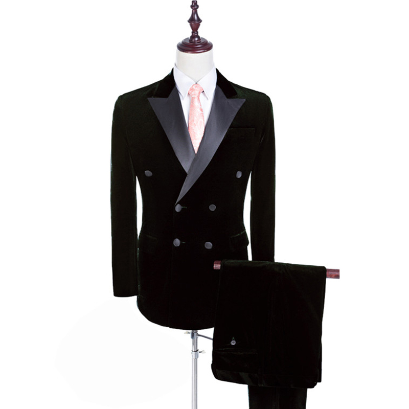 Double Breasted Black Velvet Men Suits for Wedding Wear 2018 Two Piece Peaked Lapel Custom Groom Tuxedos Jacket Pants Blazer