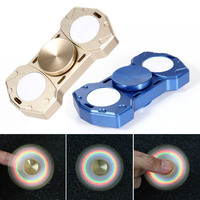 Gold Blue Color LED Light Fidget Hand Spinner Metal Hand Finger Spinner For Autism ADHD Anti