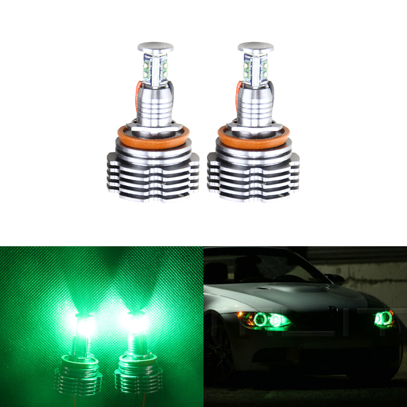 Set 2*40W H8 Led Marker Angel Eyes Halo Ring Kit Green Color For Bmw E90 E92 X5 E71 X6 E72 E92 M3 E60 E70 Canbus Error Free 2pcs set canbus no error free led marker angel eyes front driving fog lights for bmw h8 1 3 5 x series halo ring kits