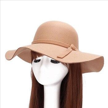 En gros femme à large bord chapeau sunora fedora adulte bowling rétro Chapeu Sombrero chapeau imitation laine disquette plaque gorilla