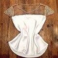Хорошее качество 2016 тропический кружева шифона рубашку женщин с коротким рукавом бисером blusas femininas плюс размер женщины повседневная рубашка блузка