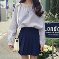 Casual New Fashion Striped College Wind Loose All Match Slim Simple Long Sleeve Female Shirts