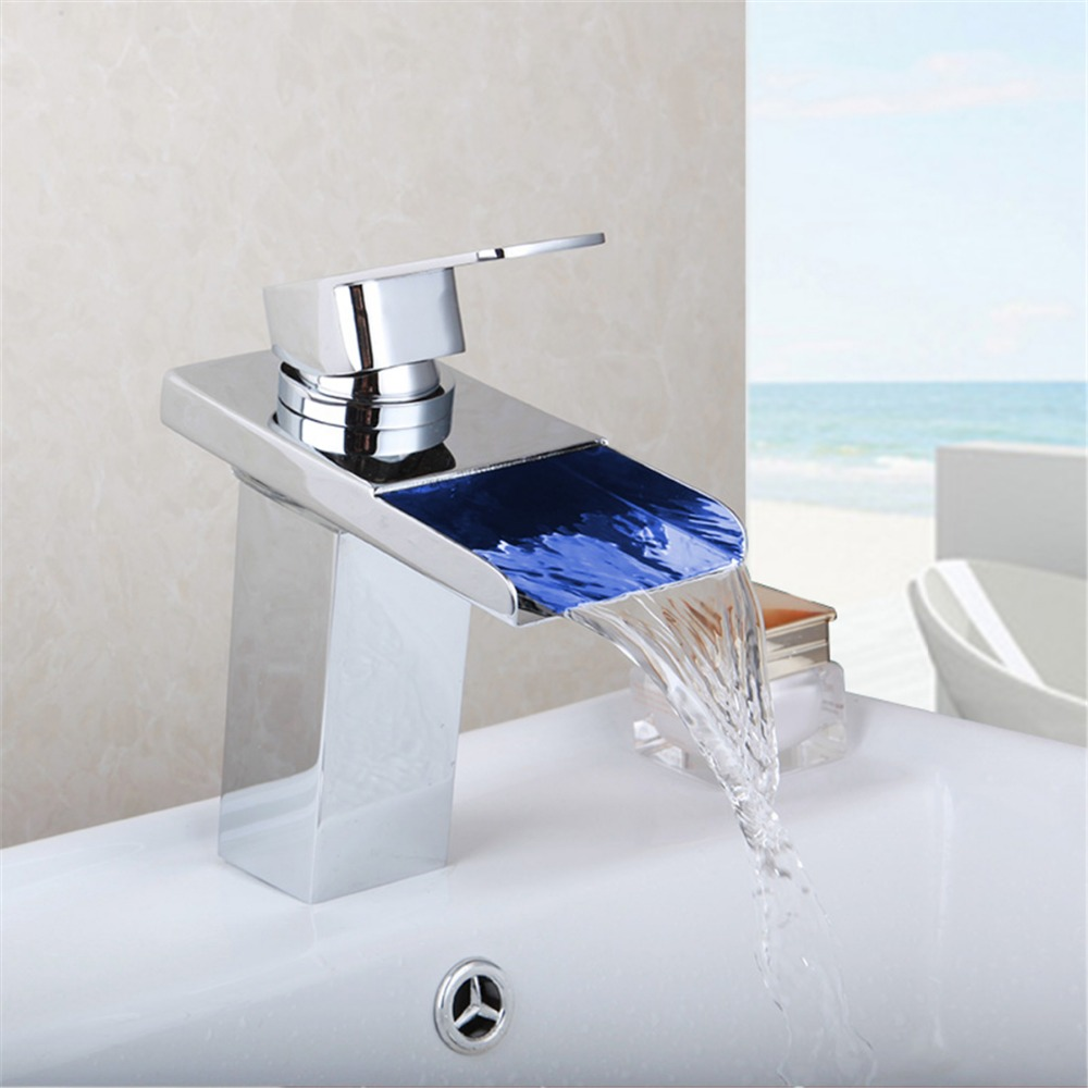 Polished Chrome Water Led Bathroom Tap Faucet Temperature Color LED Waterfall Deck Mount Bathroom Sink Faucet free shipping polished chrome finish new wall mounted waterfall bathroom bathtub handheld shower tap mixer faucet yt 5333