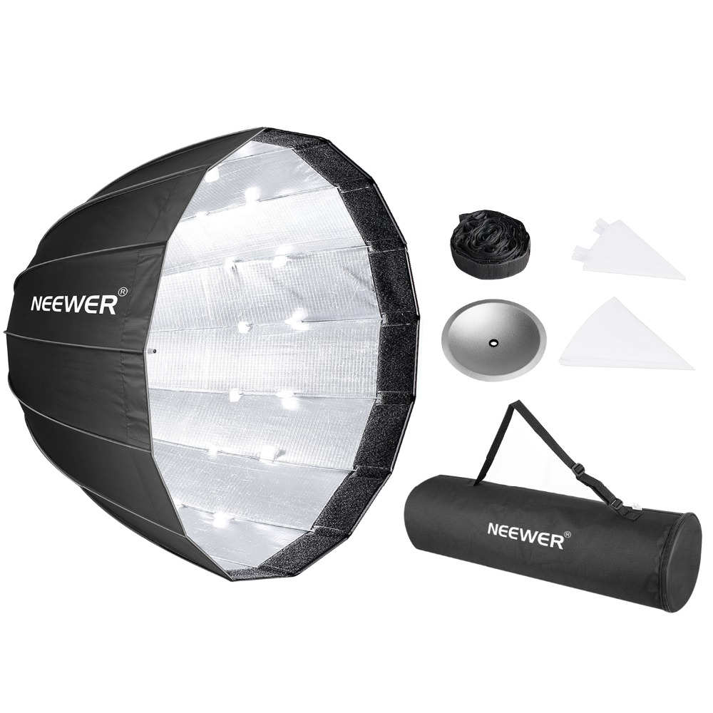 Fomito Foldable Beauty Dish Softbox with Bowens Mount Inner Silver Diameter: 70cm// 28 inches