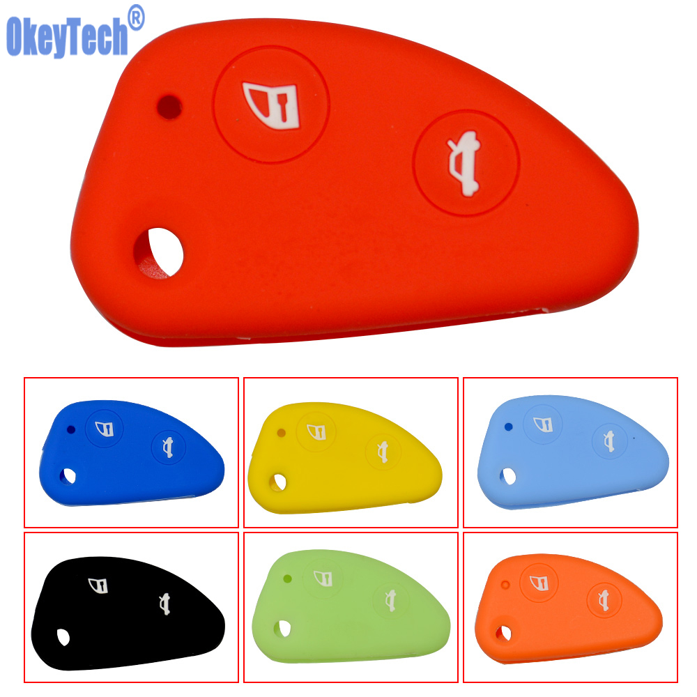 OkeyTech 2 Buttons Car Flip Key Silicone Rubber Fob Cover Case Shell Protect For Alfa Romeo 147 156 166 GT JTD TS Free Shipping