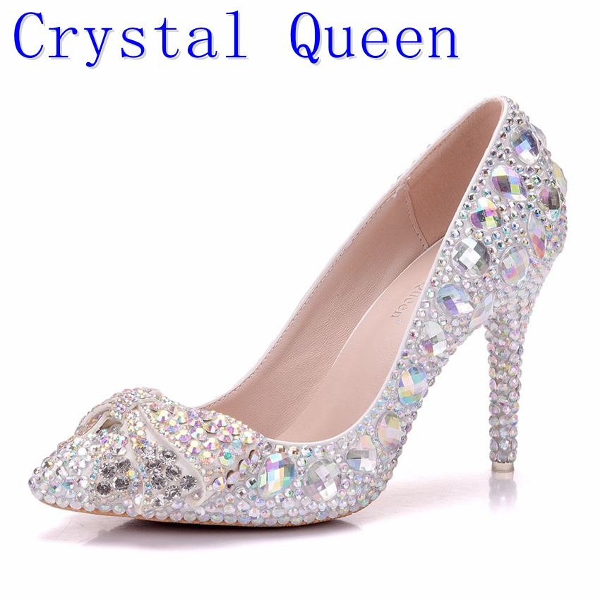 Crystal Queen High Heel Shoes Crystal Bridal Wedding Shoes Diamond Butterfly Rhinestone Women Pumps Formal Gown Prom Shoes ab crystal diamond exquisite wedding shoes sparkling rhinestone handcraft bridal shoes thin heel evening prom party women pumps