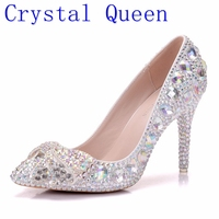 Crystal Queen High Heel Shoes Crystal Bridal Wedding Shoes Diamond Butterfly Rhinestone Women Pumps Formal Gown Prom Shoes